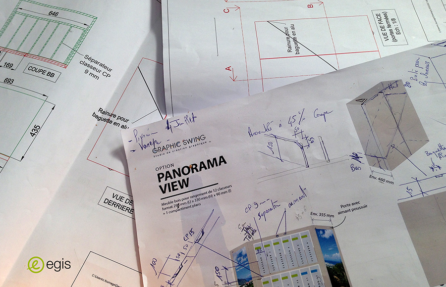 Egis réponse appel d'offre - Design et fabrication boîte sur mesure avec classeurs - Graphic swing