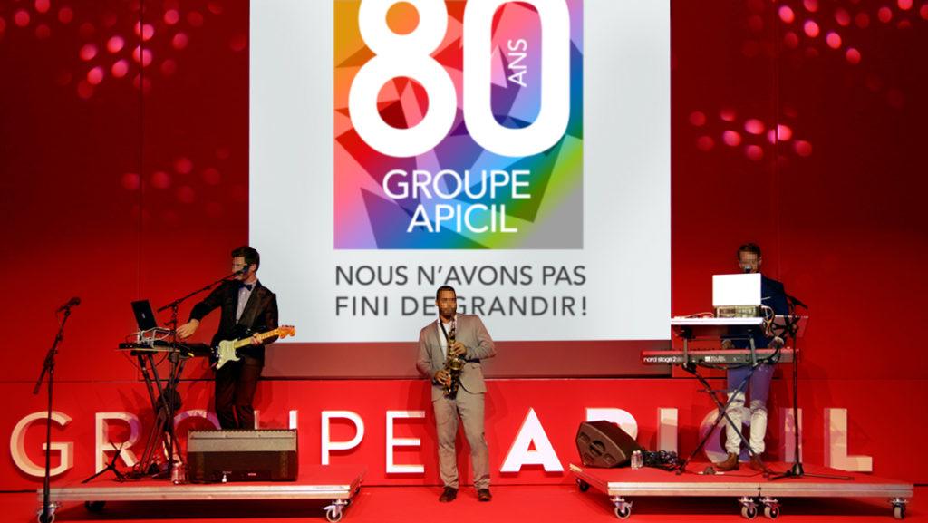 Groupe-Apicil 80 ans - Logo de l'événement Sagarmatha - Scène - Graphic Swing