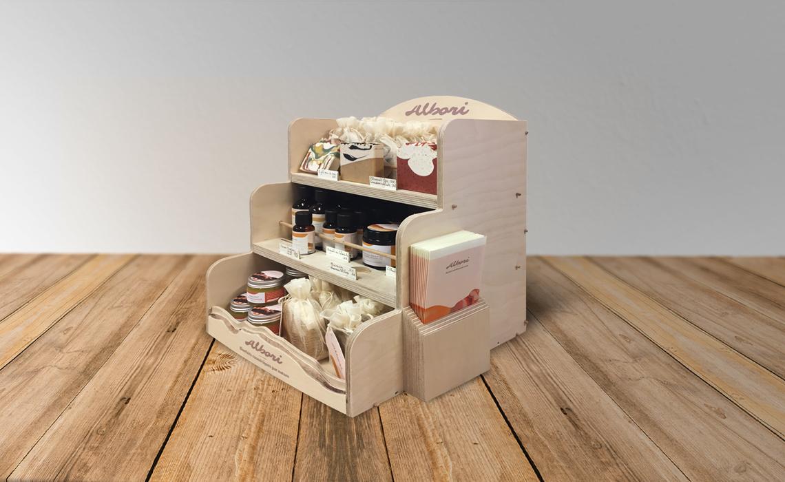 Albori cosmétique - Présentoir comptoir savons à froids Corse - Graphic Swing design